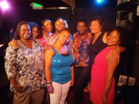 During the residency, performers included Colie Williams (not pictured), Teisha Marie, Jane Riley, Nia Simmons, Anonamas, Deja Belle, Khadijah Moon and Quineice. In the picture are all of the ladies with Liberated Muse member Lyn Artope (front far left) who came out to support.